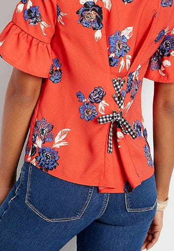 Ruffle Sleeve Lace Up Back Floral Blouse