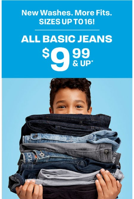 All Basic Jeans $9.99 and Up from The Children's Place