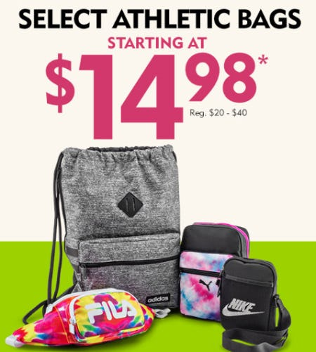 Select Athletic Bags Starting at $14.98 from Shoe Carnival