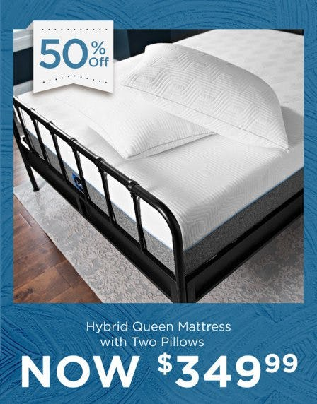 50% Off Hybrid Queen Mattress with Two Pillows from Kirkland's