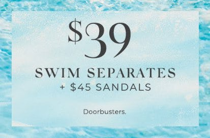 $39 Swim Separates and $45 Sandals from Lane Bryant