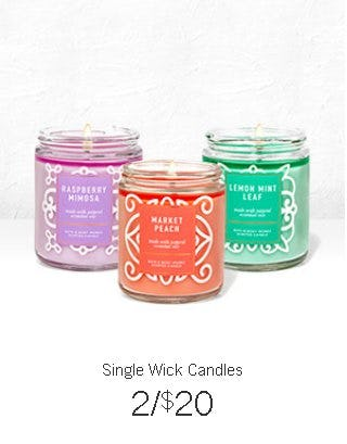 Single Wick Candles 2 for $20 from Bath & Body Works