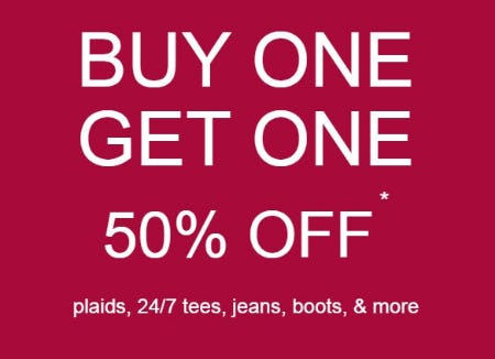 Buy One, Get One 50% Off Plaids, 24/7 Tees, Jeans, Boots & More from maurices