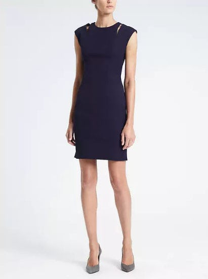 Bi-Stretch Shoulder-Slit Sheath Dress