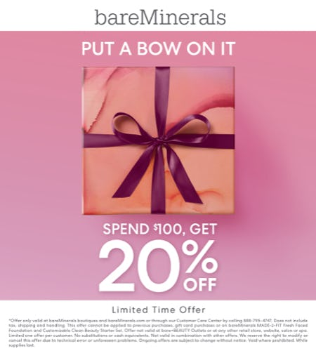 20% off a $100 purchase from bareMinerals