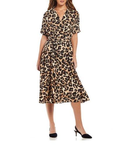 Eliza J Animal Print Midi Length Shirt Dress from Dillard's