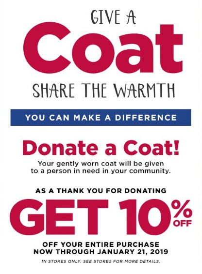 Donate a Coat, Get 10% Off Your Entire Purchase from Burlington