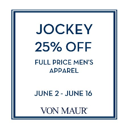 Men's Jockey 25% off from Von Maur
