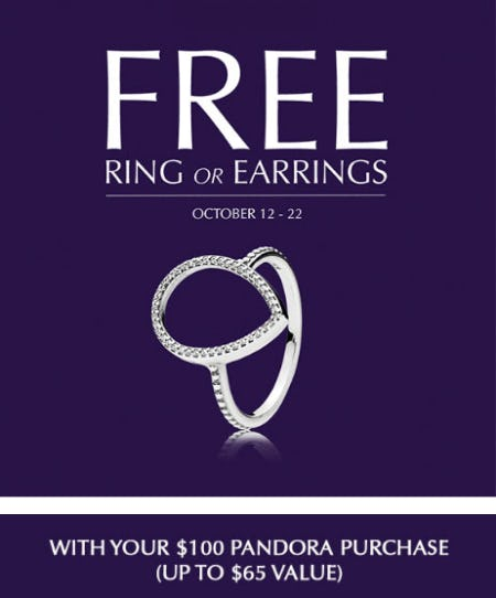Free Ring or Earrings with $100 Pandora Purchase