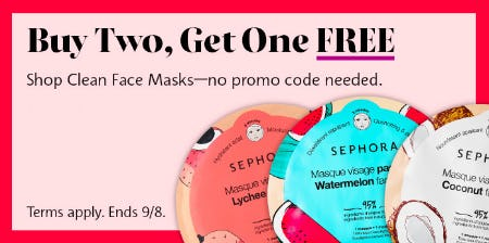 Buy Two, Get One Free Clean Face Masks from Sephora