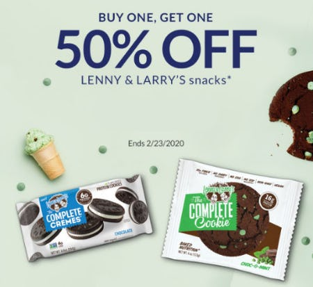 BOGO 50% Off Lenny & Larry's Snacks from The Vitamin Shoppe