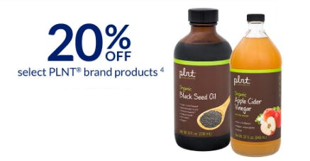 20% Off Select PLNT Brand Products from The Vitamin Shoppe