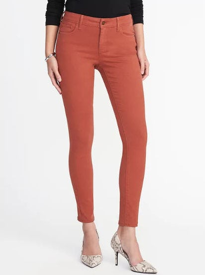 Mid-Rise Pop-Color Rockstar Super Skinny Jeans