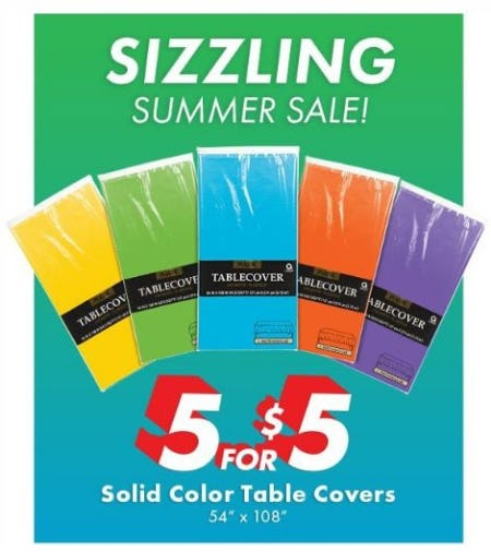 5 for $5 Solid Color Table Covers from Party City