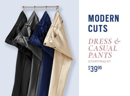 Dress & Casual Pants Starting at $39.99 from Men's Wearhouse