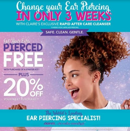 Get pierced, Be Happy! from Claire's