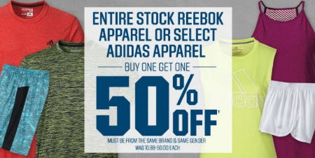 Entire Stock Reebok Apparel or Select adidas Apparel Buy One, Get One 50% Off from Dick's Sporting Goods