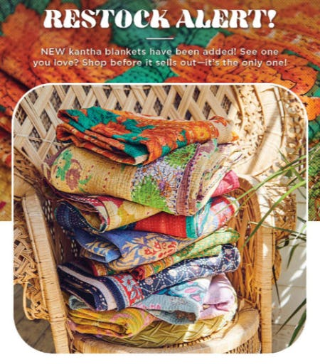 Kantha Has Restocked from Earthbound Trading Company