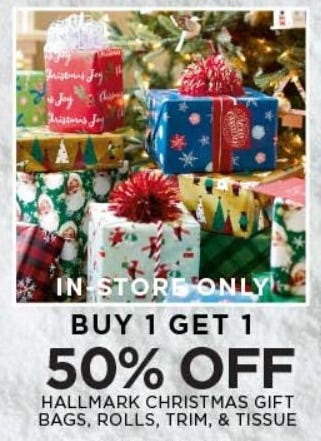 Buy 1 Get 1 50% Off Hallmark Christmas Gift Bags, Rolls, Trim, & Tissue from The Paper Store