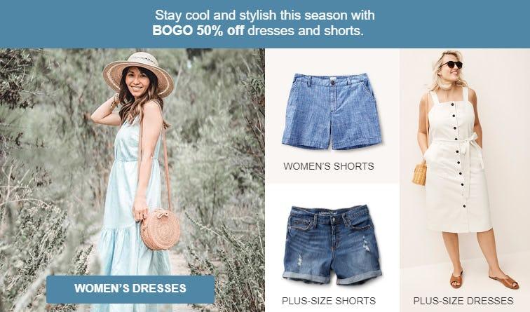 BOGO 50% Off Dresses & Shorts