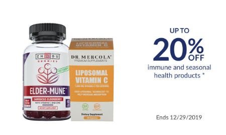 Up to 20% Off Immune and Seasonal Health Products from The Vitamin Shoppe
