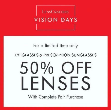 50% Off Lenses with Complete Pair Purchase from LensCrafters