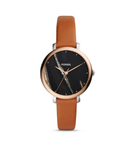 Jacqueline Three-Hand Luggage Leather Watch from Fossil