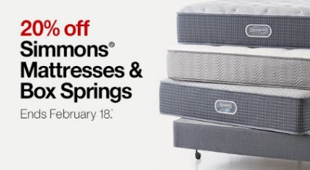 20% Off Simmons Mattresses & Box Springs from Crate & Barrel