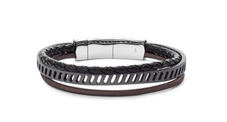 Vintage Casual Multi-Strand Black Leather Bracelet from Fossil