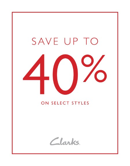 SAVE UP TO 40% OFF! from Clarks