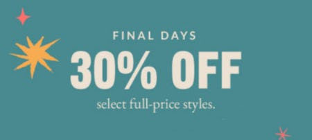 30% Off Select Full-Price Styles