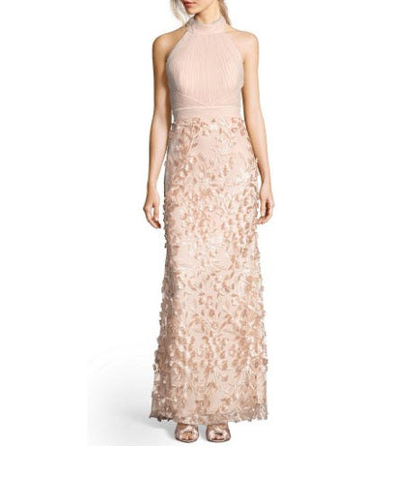 Adrianna Papell Mock Neck Tulle Petal Embroidery Modified Mermaid Gown from Dillard's