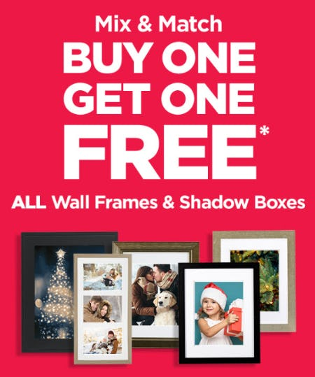 BOGO Free on All Wall Frames & Shadow Boxes from Michaels