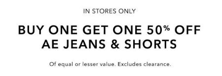 Buy One, Get One 50% Off AE Jeans & Shorts from American Eagle Outfitters
