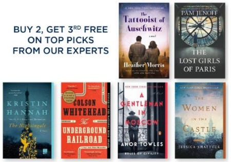 Buy 2, Get 3rd Free on Top Picks from Our Experts from Books-A-Million