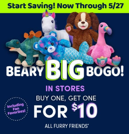 BOGO $10 All Furry Friends from Build-A-Bear Workshop
