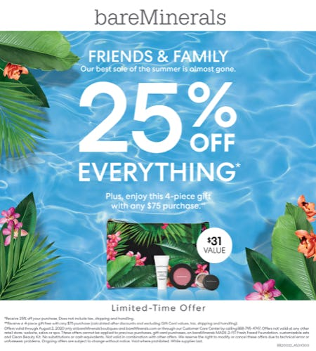 Friends and Family 25% off! from bareMinerals
