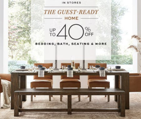 Up to 40% Off Bedding, Bath & More from Pottery Barn