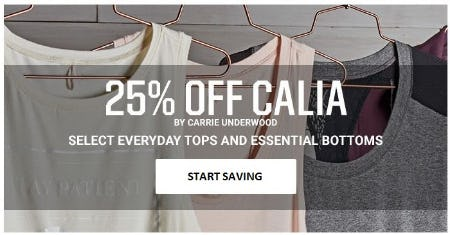 25% Off Calia by Carrie Underwood from Dick's Sporting Goods