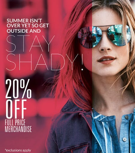 20% Off Full Price Merchandise from Solstice Sunglass Boutique