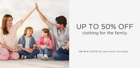 Up to 50% Off Clothing for the Family