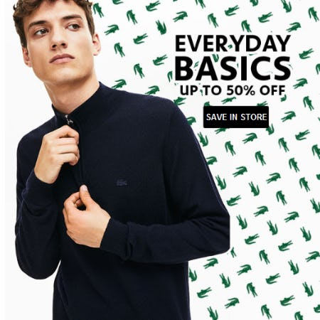 Everyday Basics up to 50% Off from Lacoste