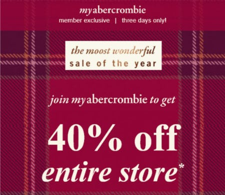 40% Off Entire Store from Abercrombie Kids