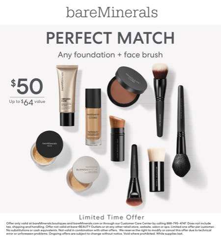 Foundation and Face Brush Bundle for $50 from bareMinerals