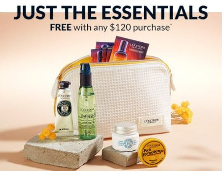 Free 9-Piece Essentials Gift With Any $120 Purchase from L'Occitane