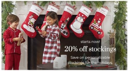 20% Off Stockings from Pottery Barn Kids