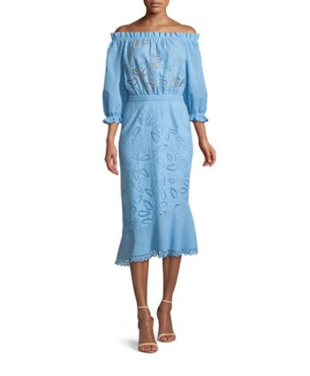 Saloni Grace Eyelet Cotton Dress from Neiman Marcus