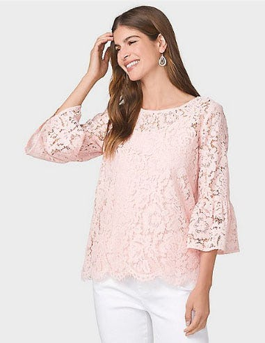 Ramona Lace Bell Sleeve Top from Dressbarn