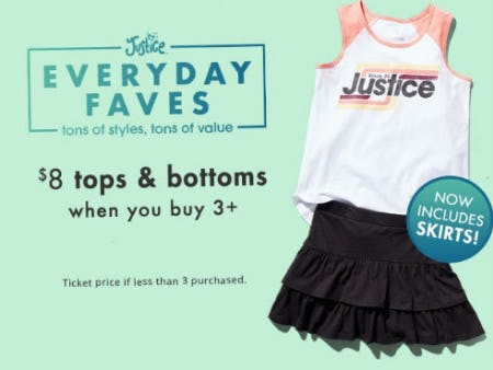 $8 Tops & Bottoms When You Buy 3 or More from Justice