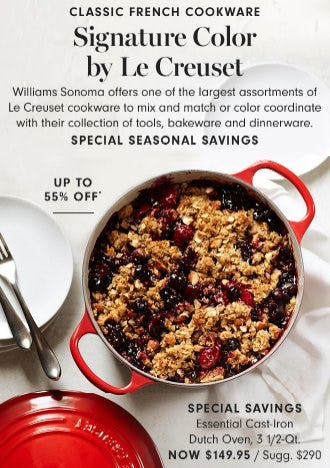Le Creuset Cookware up to 55% Off from Williams-Sonoma